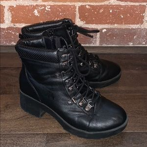 Express black faux leather boots
